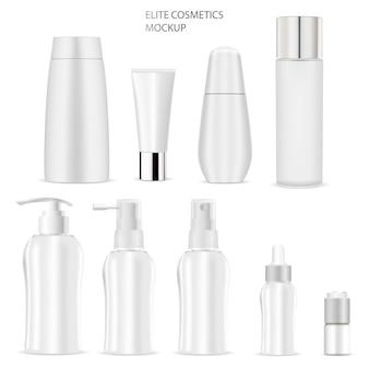 Maquette de bouteille cosmétique. savon, shampoing, tube, crème