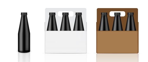 Maquette bouteille noire réaliste, boîte et emballage