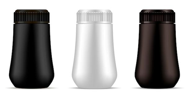 Maquette de bouteille en plastique noire, marron et blanche.