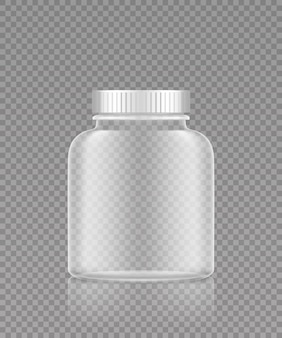 Maquette de bouteille en plastique transparente vide pour pilules ou suppléments médicaux