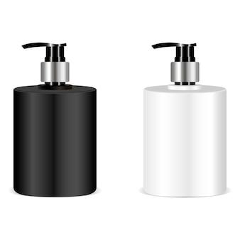 Maquette de bouteille de savon noir et blanc. vecteur