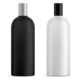 Maquette de bouteille de shampoing noir et blanc