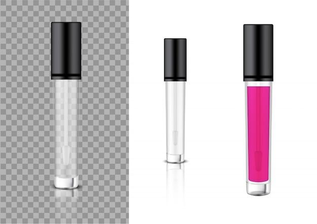Maquette bouteille transparente réaliste baume cosmétique brillant à lèvres, correcteur, huile pour l'emballage des produits de soin de la peau