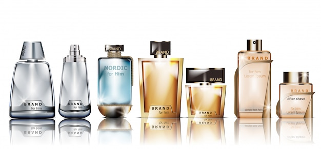 Maquette de bouteilles de parfum cosmétiques réalistes