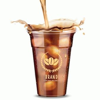 Maquette de café glacé isolé