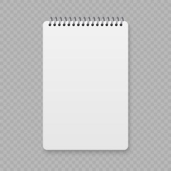 Maquette cahier à spirale réaliste, couverture de cahier de modèle.