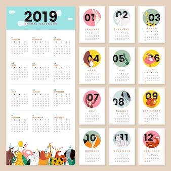 Maquette de calendrier animal mignon