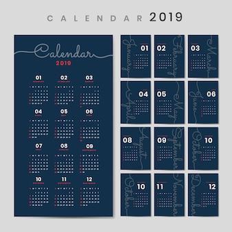 Maquette de calendrier de conception cursive