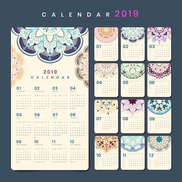 Maquette de calendrier mandala
