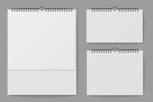 Maquette de calendrier mural. calendrier de bureau blanc blanc avec liant en spirale. modèle isolé de vecteur 3d