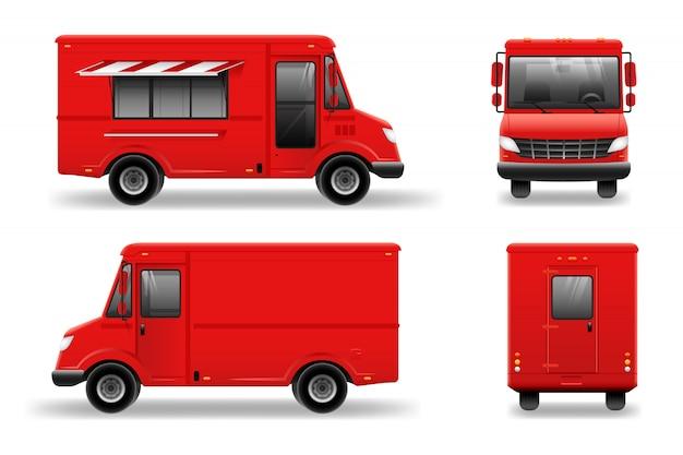 Maquette de camion de nourriture rouge sur blanc pour l'image de marque du véhicule, la publicité, l'identité d'entreprise. publicité dans les transports.