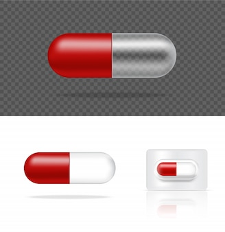 Maquette de capsule de médecine de pilule transparente réaliste