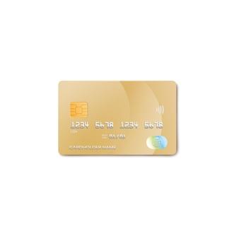 Maquette de carte de crédit bancaire réaliste en or pour les achats