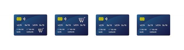 Maquette de carte de crédit, carte de crédit paywave, voiture de magasinage,