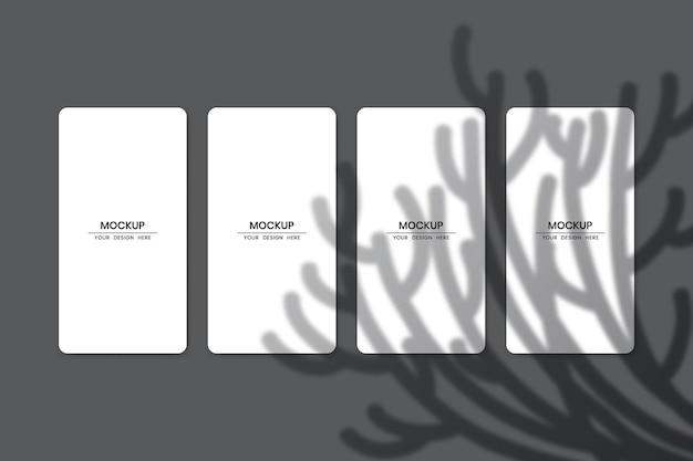 Maquette de cartes en papier blanc vierge avec effet de superposition d'ombre