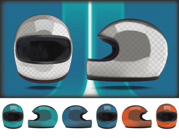 Maquette casque de moto classique. vue de face et de côté.
