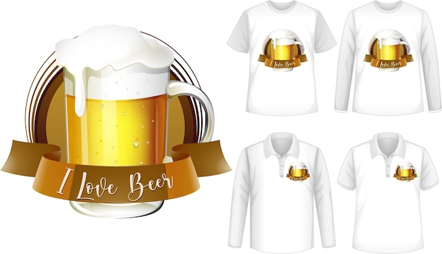 Maquette de chemise avec logo bière