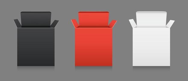 Maquette De Coffret Cadeau En Carton Collection D'emballage Cosmétique Ou Médical Vierge Boîtes En Papier De Produit Vecteur Premium