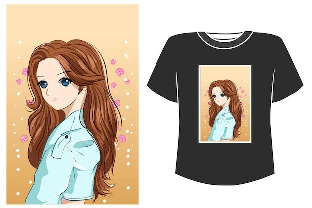 Maquette de conception de t-shirt belle illustration de dessin animé de cheveux bruns