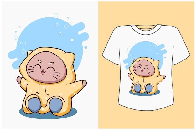 Maquette de conception de t-shirt chat heureux avec illustration de dessin animé de chat