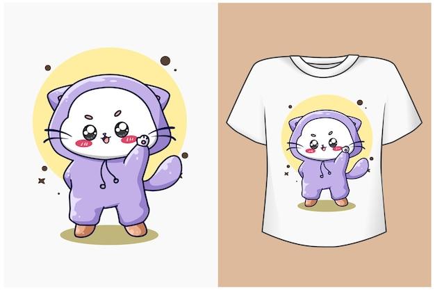 Maquette de conception de t-shirt illustration de dessin animé de chat mignon et heureux
