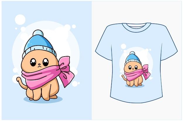 Maquette de conception de t-shirt illustration de dessin animé de chat mignon