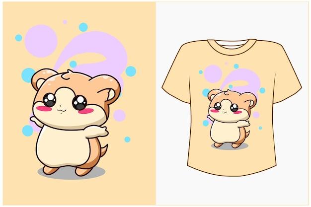 Maquette de conception de t-shirt illustration de dessin animé de hamster mignon