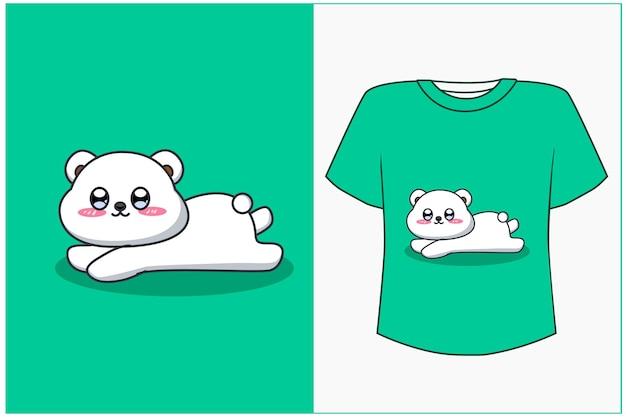 Maquette de conception de t-shirt illustration de dessin animé heureux ours blanc