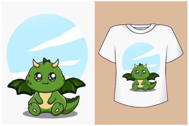 Maquette de conception de t-shirt illustration de dessin animé mignon et joli dinosaure