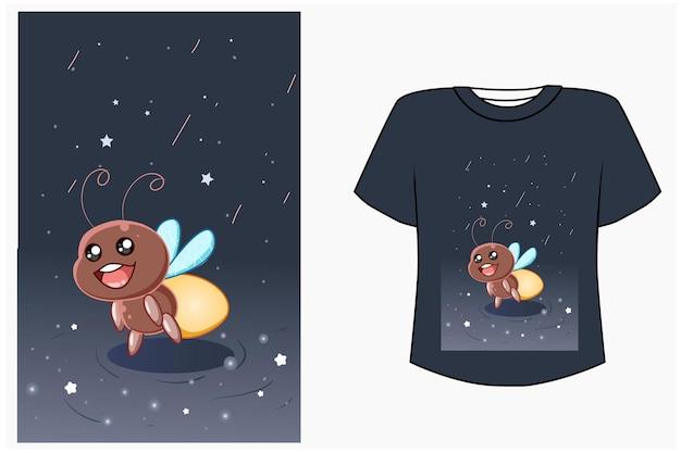 Maquette de conception de t-shirt illustration de dessin animé mignon luciole