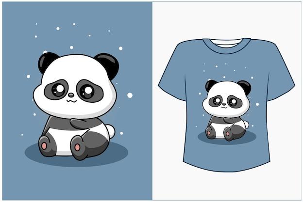 Maquette de conception de t-shirt illustration de dessin animé mignon et panda