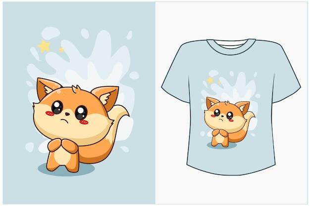 Maquette de conception de t-shirt illustration de dessin animé de renard heureux