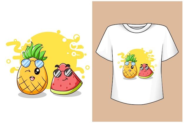 Maquette de conception de t-shirt mignon ananas et pastèque en été