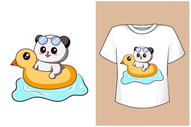 Maquette de conception de t-shirt panda mignon natation