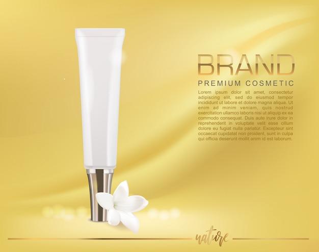 Maquette cosmétique avec un élégant tube de sérum et une fleur. placez votre texte.