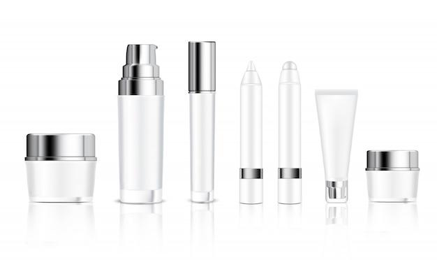 Maquette cosmétique réaliste de bouteille blanche, pot, tube, crayon