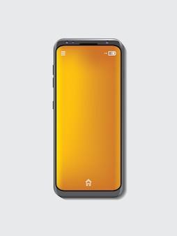 Maquette de couleur gris espace de téléphone portable et fond d'écran orange