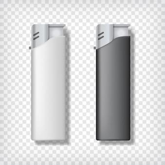 Maquette de deux briquets. arrière-plan transparent. briquets noirs et blancs.