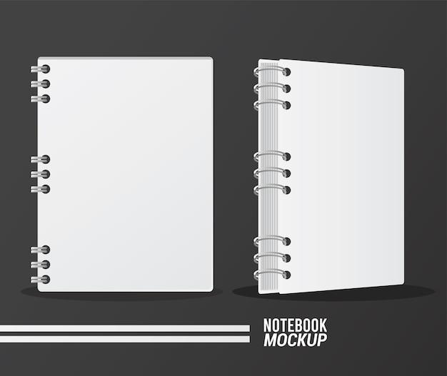 Maquette de deux cahiers couleur blanc.