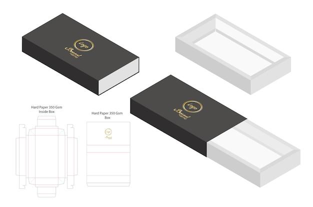 Maquette de diapositive de papier dur 3d maquette avec dieline
