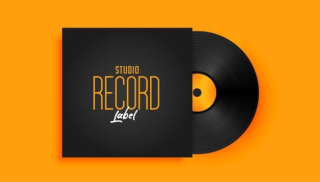 Maquette de disque de label de musique réaliste