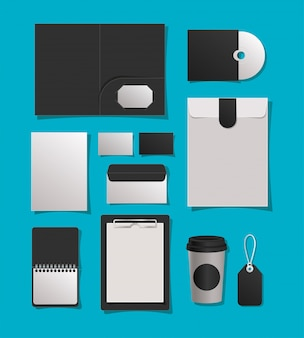 Maquette dossier mug cd cartes enveloppes carnet et étiquette