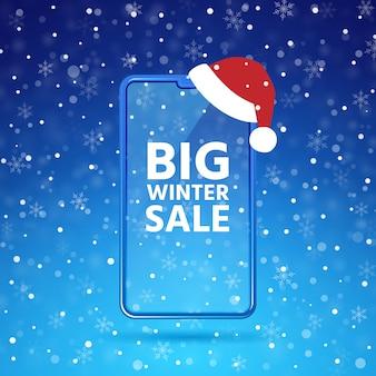 Maquette d'écran de téléphone mobile de vente d'hiver, smartphone avec chapeau de pères noël, ciel bleu, fond de flocons de neige