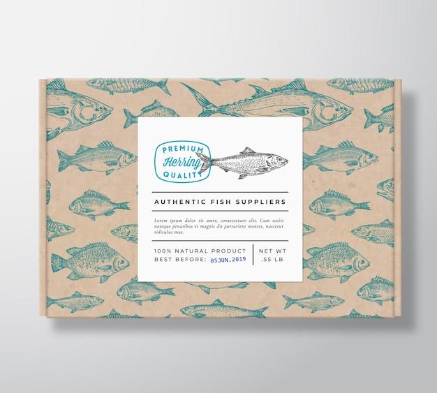 Maquette d'emballage de boîte en carton réaliste de poisson