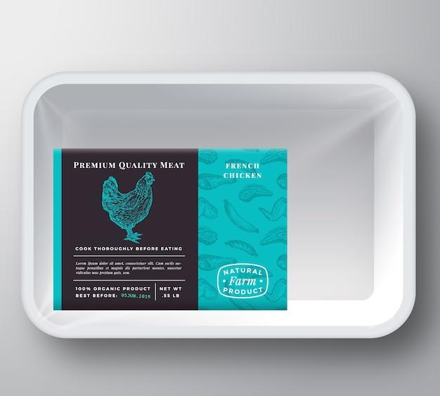 Maquette d'emballage de conteneur de plateau en plastique de poulet