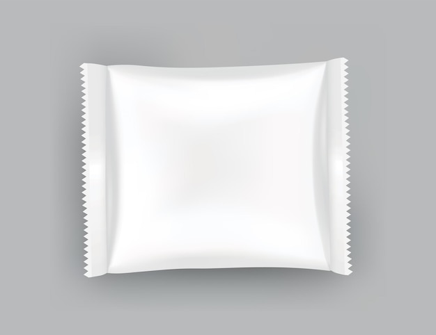 Maquette d'emballage ou modèle de pochette. blanc brillant réaliste de pack doy, collations aux puces, pack de bonbons ou emballage de produits cosmétiques. modèle d'emballage en plastique prêt pour la marque