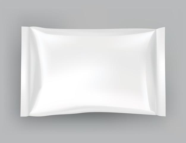 Maquette d'emballage ou modèle de pochette. blanc brillant réaliste de pack doy, collations aux puces, pack de bonbons ou emballage de produits cosmétiques. modèle de pack en plastique prêt pour la marque.