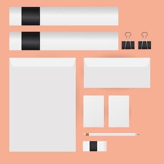 Maquette enveloppes crayon et conception de cartes de modèle d'identité d'entreprise et thème de marque
