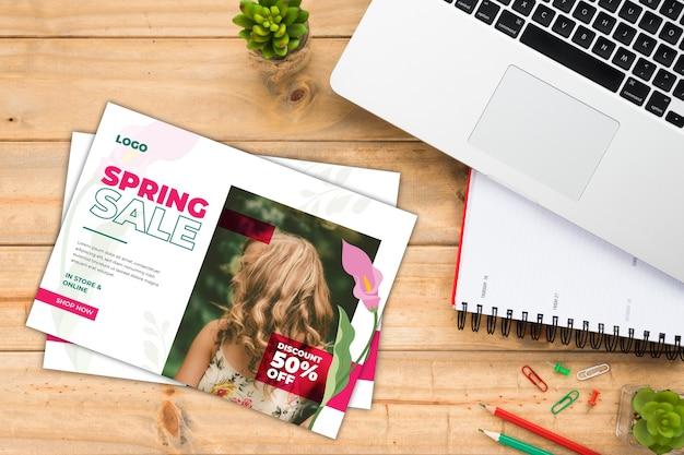 Maquette de flyer de vente de printemps avec photo