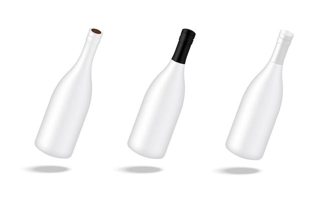 Maquette fond de bouteille d'alcool de vin réaliste
